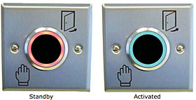Stainless steel Infra-red proximity exit button, IP65, adjustable range