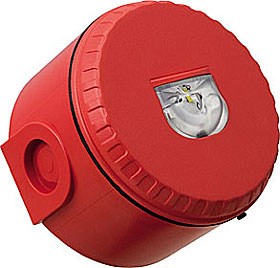 EN54-23 wall mounted beacon, deep base, red, white flash.