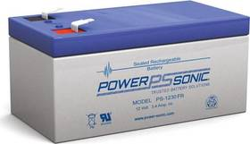 Battery 12V/3,4Ah flame retardant casing, VdS approved with terminals Faston 187