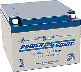 Battery 12V/26Ah VdS approved with terminals Bolt M5