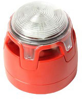 ENscape sounder & beacon, red, white flash, low profile base, EN54-23