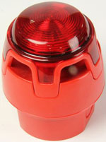 ENscape sounder & beacon, red, red flash, low profile base, EN54-3
