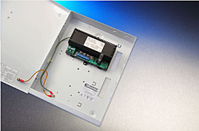 "EN54 certified PSU for fire systems, 27,6 VDC / 1,2+0,3 A, ""T"" box."