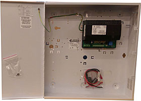 "EN54 certified PSU for fire systems, 27,6 VDC / 5,0+0,8 A, ""E"" box."
