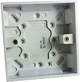 White 25mm surface mount UK single gang back box