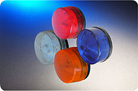 Low Profile 24Vdc LED Beacon, Blue Lens Colour, twin fixing