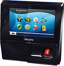 Biometric terminal with fingerprint reader and touchscreen LCD, iCLASS reader