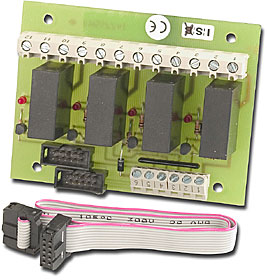 Relay module for BC216 series panels, 4 outputs 230 VAC max.