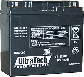 Battery ULTRATECH 12V / 18Ah with terminals Nut & Bolt M6