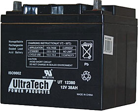 Battery ULTRATECH 12V / 38Ah terminals Nut & Bolt M6