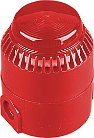 Combined sounder & LED beacon, red lens, red body, IP65.