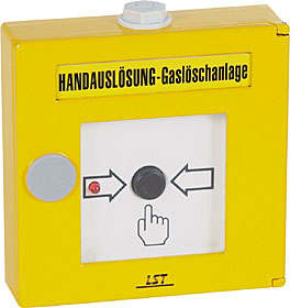 Manual call point for gas extinguishing system, yellow.