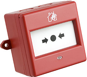 Red conventional manual call point, NO/NC contact, IP66.