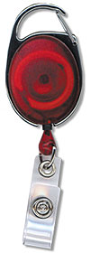 Red Premier Badge Reel with Carabiner-style Attachment, Clear Vinyl Strap