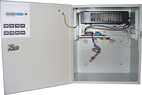 Switched power supply unit in cabinet, 13,8V/6+4A, accu max. 38 Ah