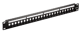 Patch panel 24 ports CAT6A STP, keystone jack snap-in type