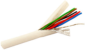 6 core screened alarm cable, conductor area 6x0,182mm2  White 100m