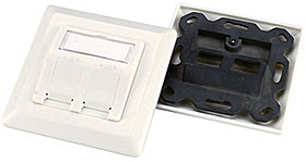 German Type face plate 80*80mm, 2ports white
